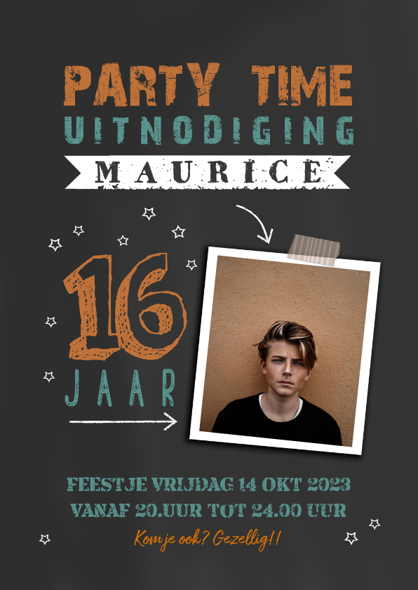 Uitnodigingen - Uitnodiging jongen 16 jaar