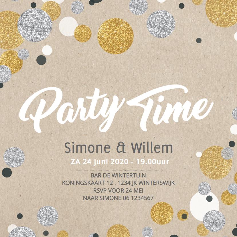 Uitnodigingen - Uitnodiging jubileum confetti