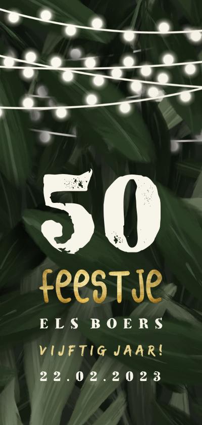 Uitnodigingen - Uitnodiging jungle bladeren feestje met lampjes