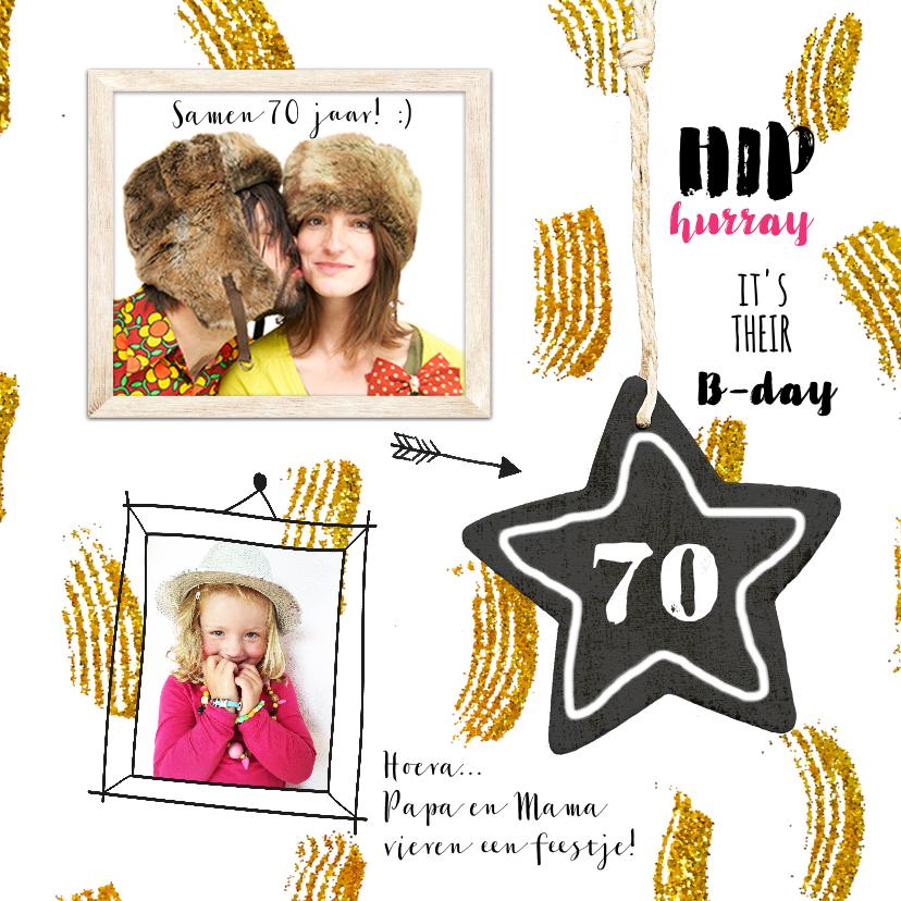 Uitnodigingen - Uitnodiging kaart feestje goud confetti