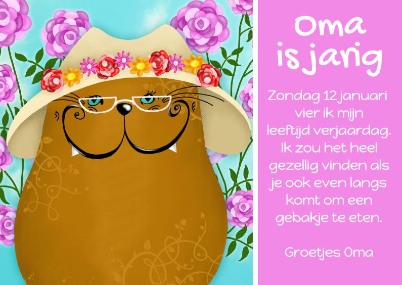 Uitnodigingen - Uitnodiging kat Oma