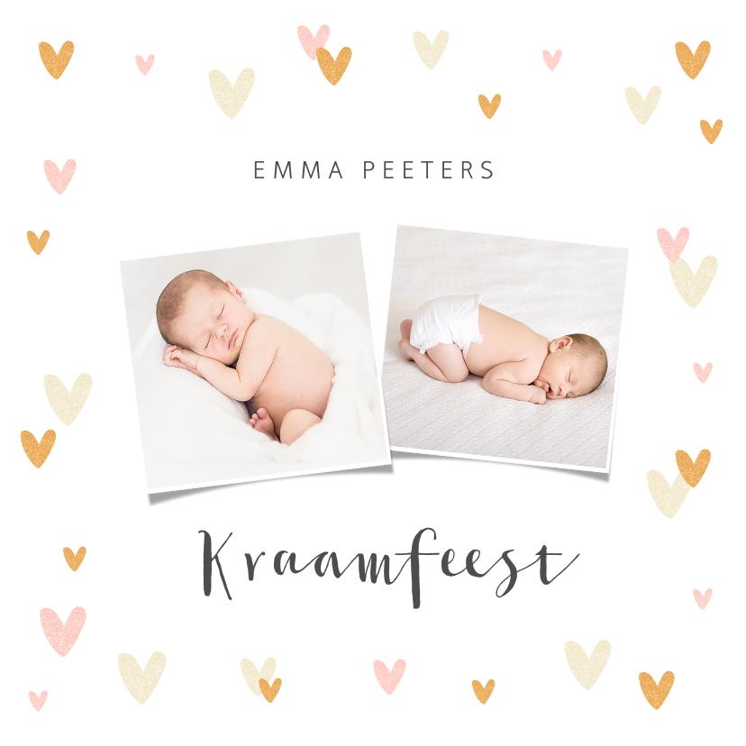 Uitnodigingen - Uitnodiging kraamfeest baby meisje hartjes foto's