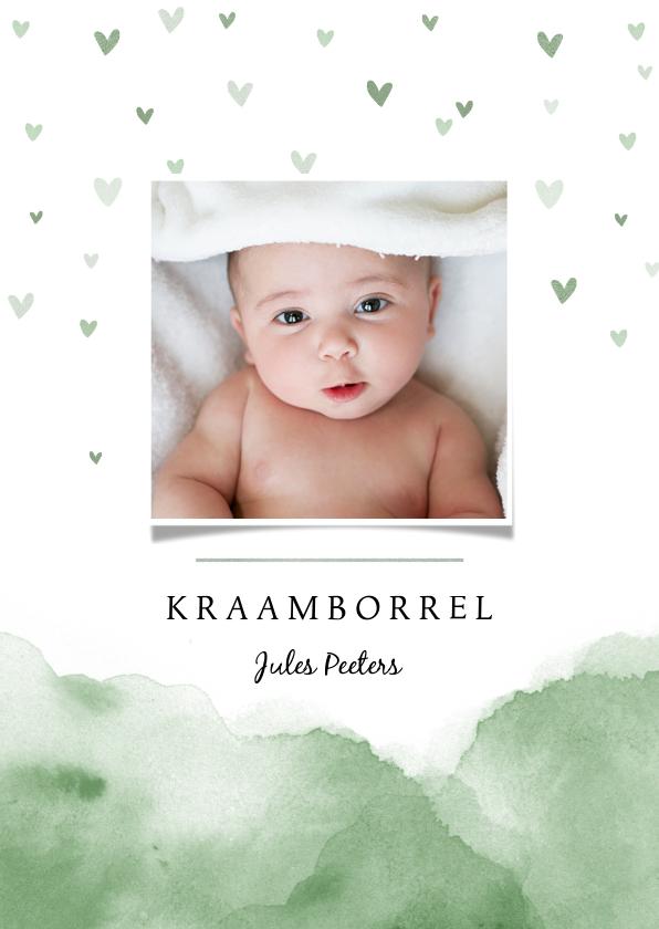 Uitnodigingen - Uitnodiging kraamfeest baby waterverf hartjes foto groen