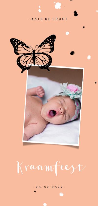 Uitnodigingen - Uitnodiging kraamfeest zwarte vlinder met spetters