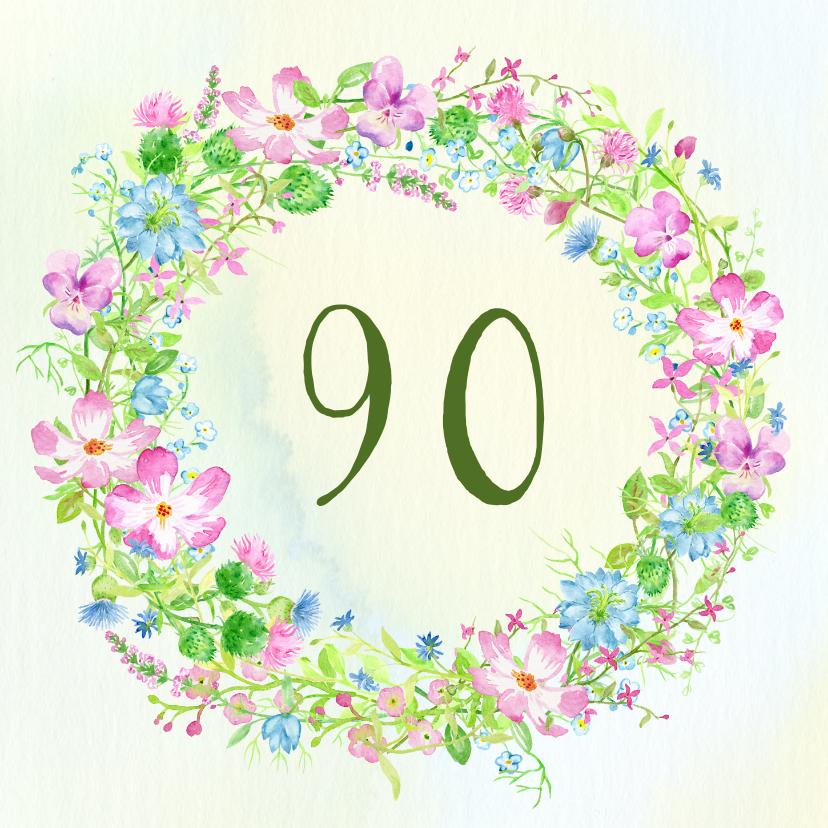 Uitnodigingen - Uitnodiging krans met veldbloemen