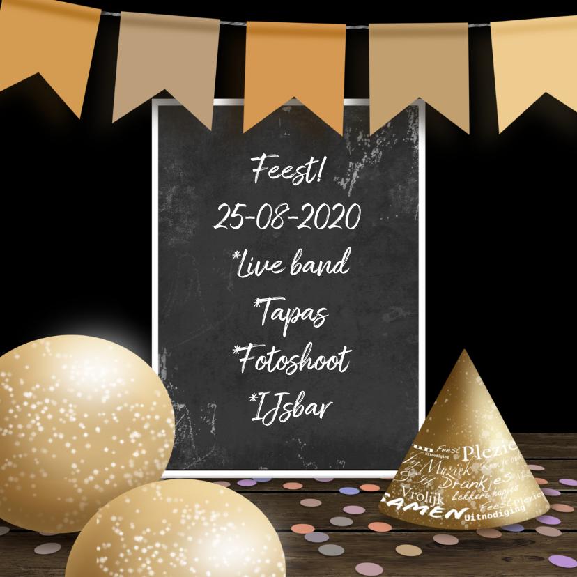 Uitnodigingen - Uitnodiging krijtbord confetti en slinger