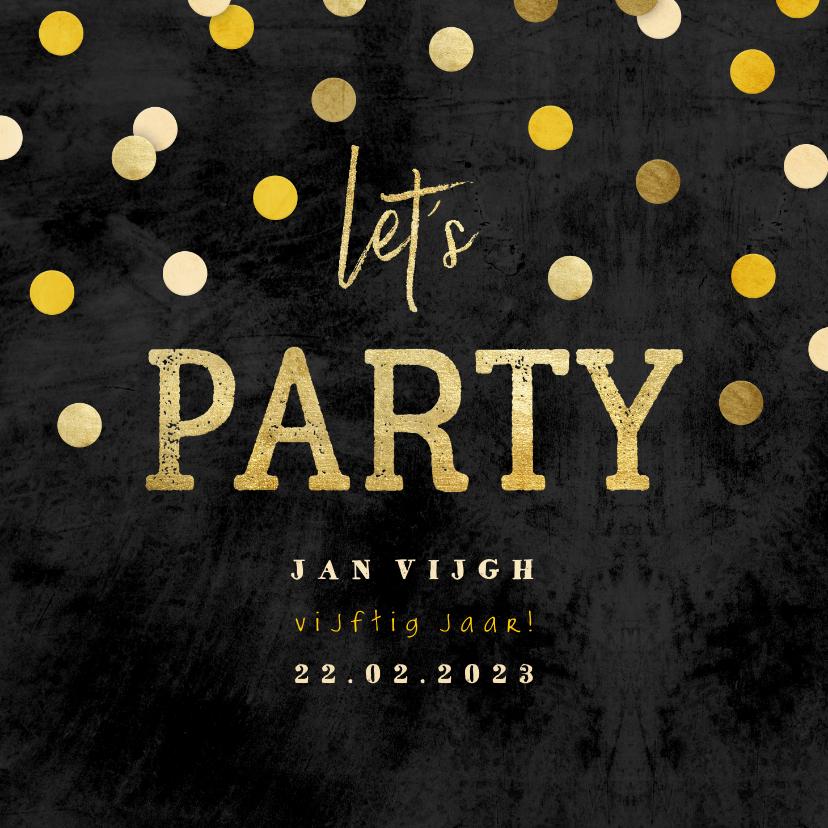 Uitnodigingen - Uitnodiging krijtbord gouden 'let's party' met confetti
