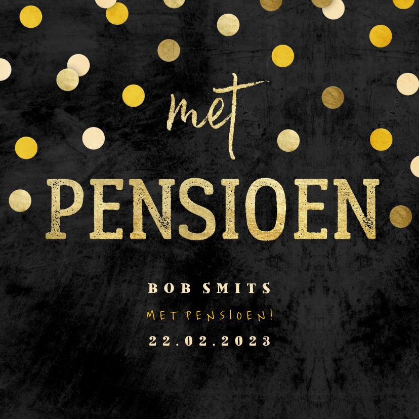 Uitnodigingen - Uitnodiging krijtbord gouden 'met pensioen' met confetti