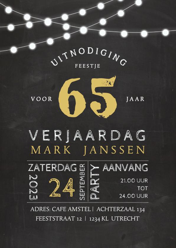 Uitnodigingen - Uitnodiging krijtbord look met lampjes