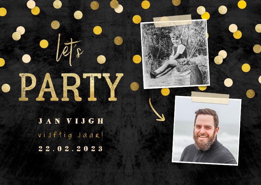Uitnodigingen - Uitnodiging 'let's party' krijtbord met foto's en confetti