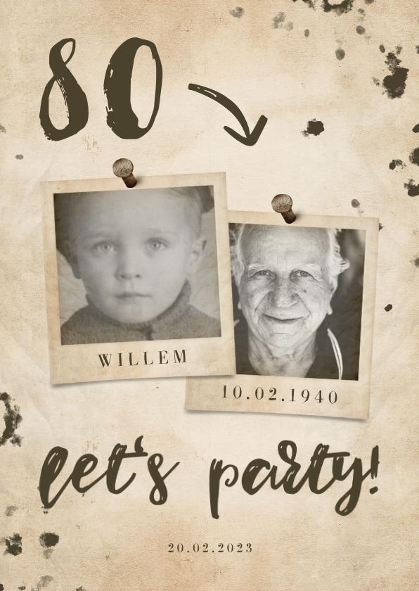 Uitnodigingen - Uitnodiging 'let's party' vintage met leeftijd en foto's