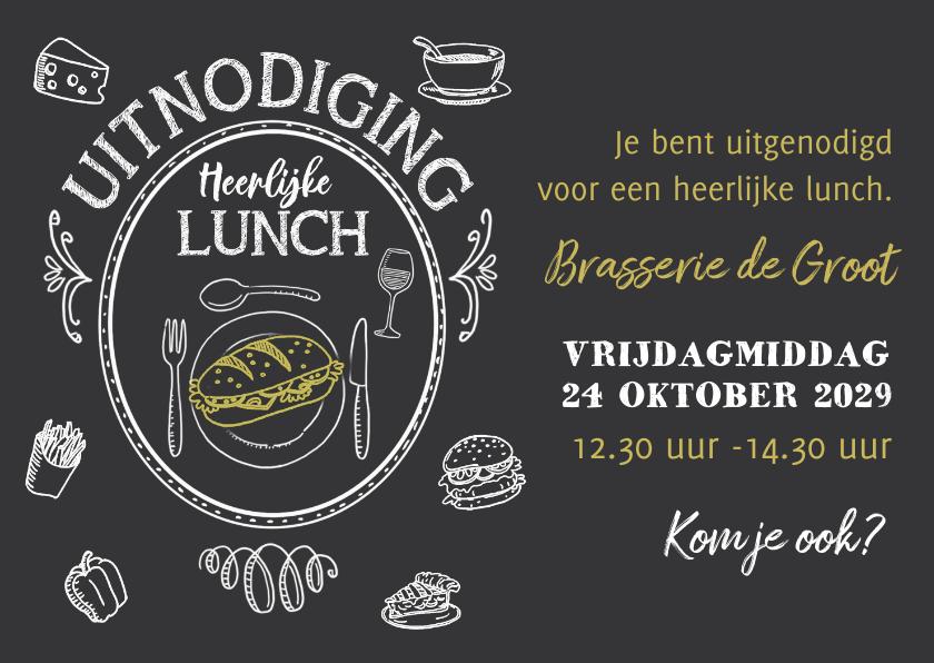 Uitnodigingen - Uitnodiging Lunch krijtbord