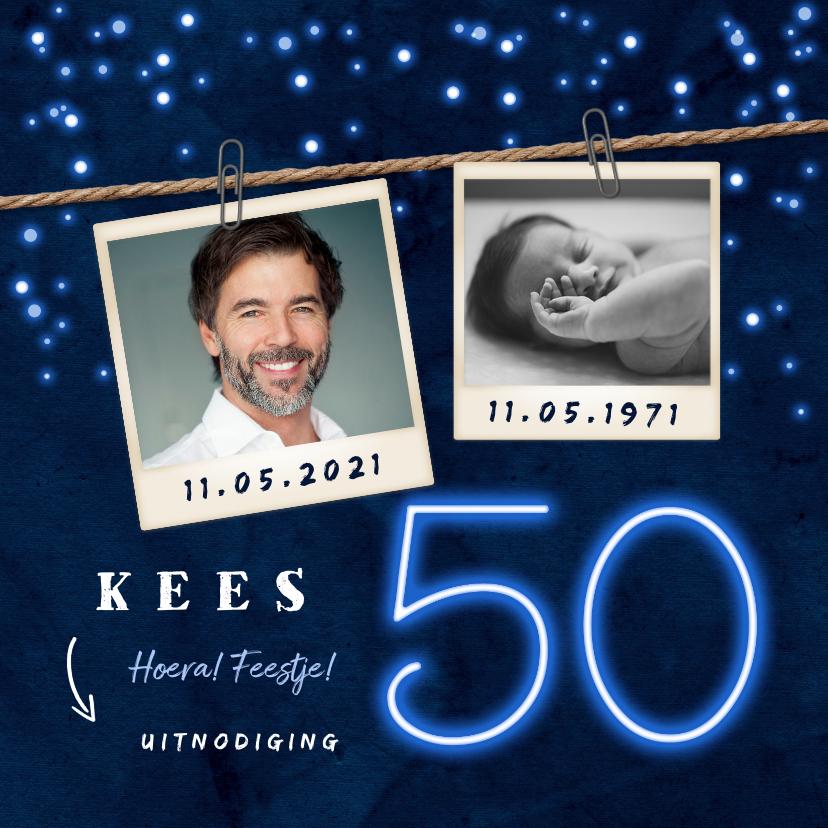 Uitnodigingen - Uitnodiging man 50 jaar neon confetti foto slinger