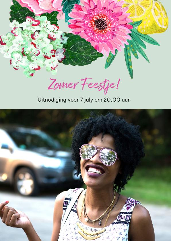 Uitnodigingen - Uitnodiging met Bloemen en fruit voor een zomers feestje
