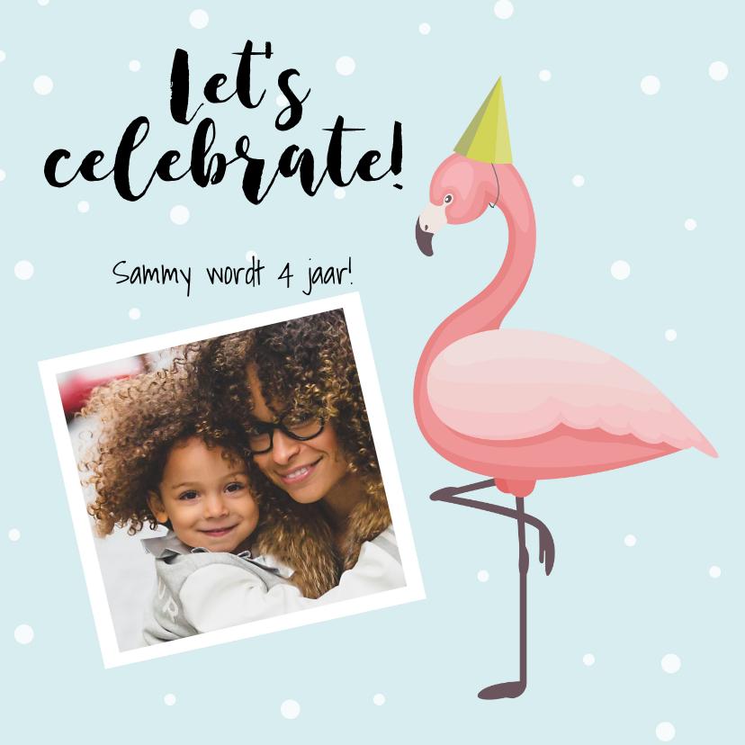 Uitnodigingen - Uitnodiging met flamingo