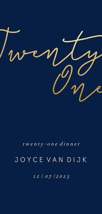 Uitnodigingen - Uitnodiging met gouden 'Twenty One' langwerpig