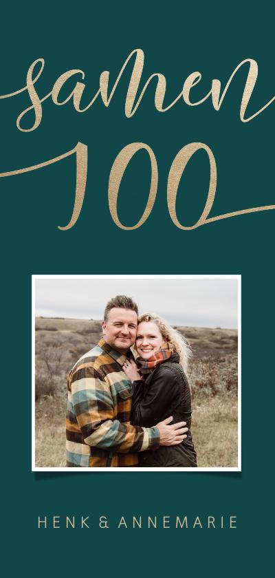 Uitnodigingen -  Uitnodiging met goudlook 'samen 100' en foto