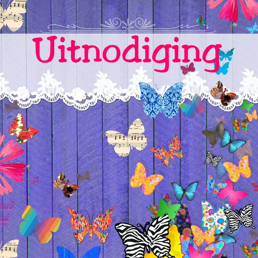 Uitnodigingen - UItnodiging met vlinders
