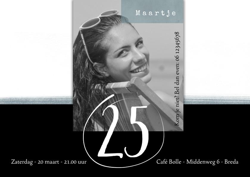 Uitnodigingen - Uitnodiging modern, 25ste verjaardag zwart-wit en grijsgroen
