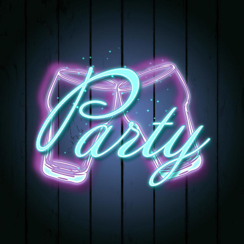 Uitnodigingen - Uitnodiging Neon feest B
