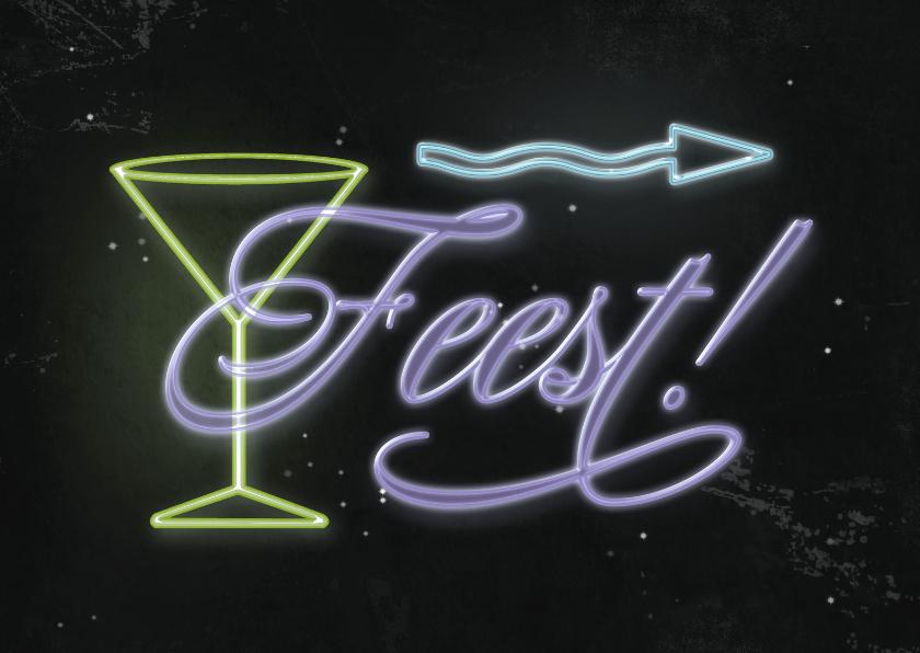 Uitnodigingen - Uitnodiging neon feest C