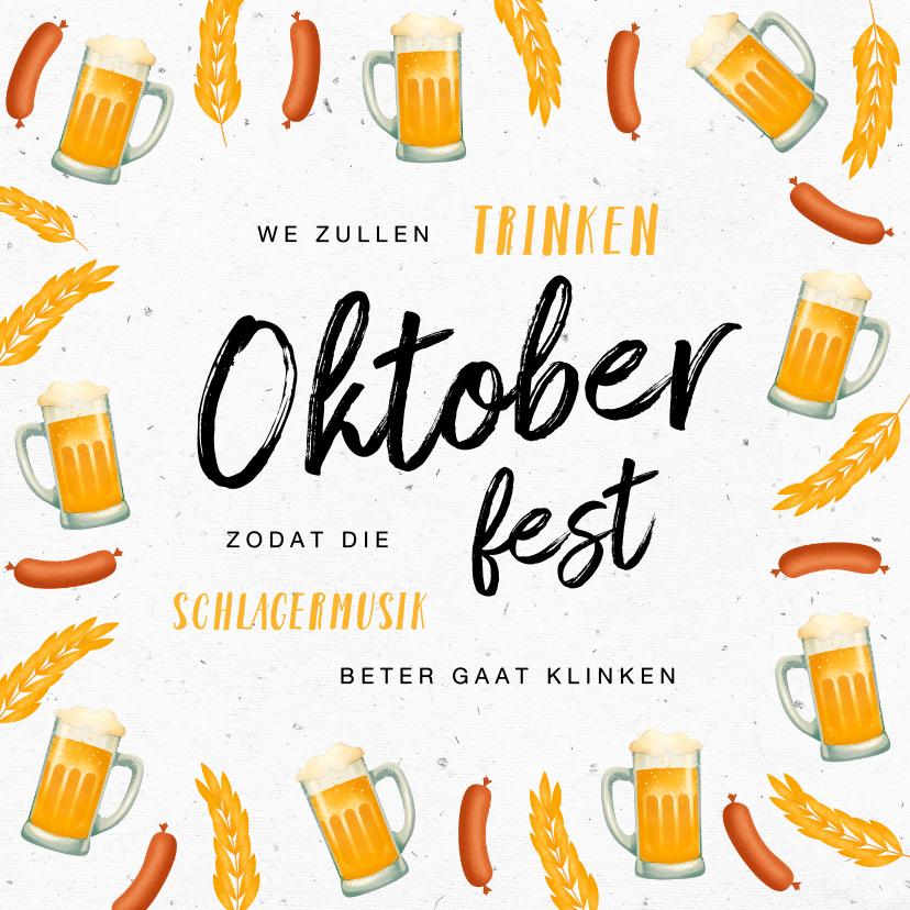 Uitnodigingen - Uitnodiging Oktoberfest bier worst duits
