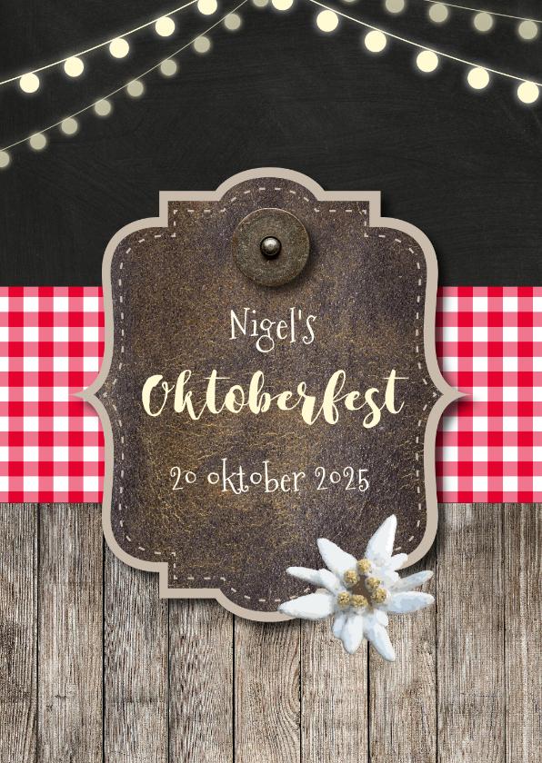 Uitnodigingen - Uitnodiging oktoberfest hout en lampjes