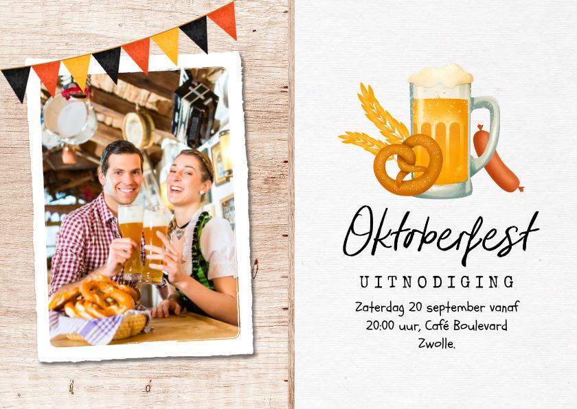 Uitnodigingen - Uitnodiging oktoberfest hout foto bier worst pretzel