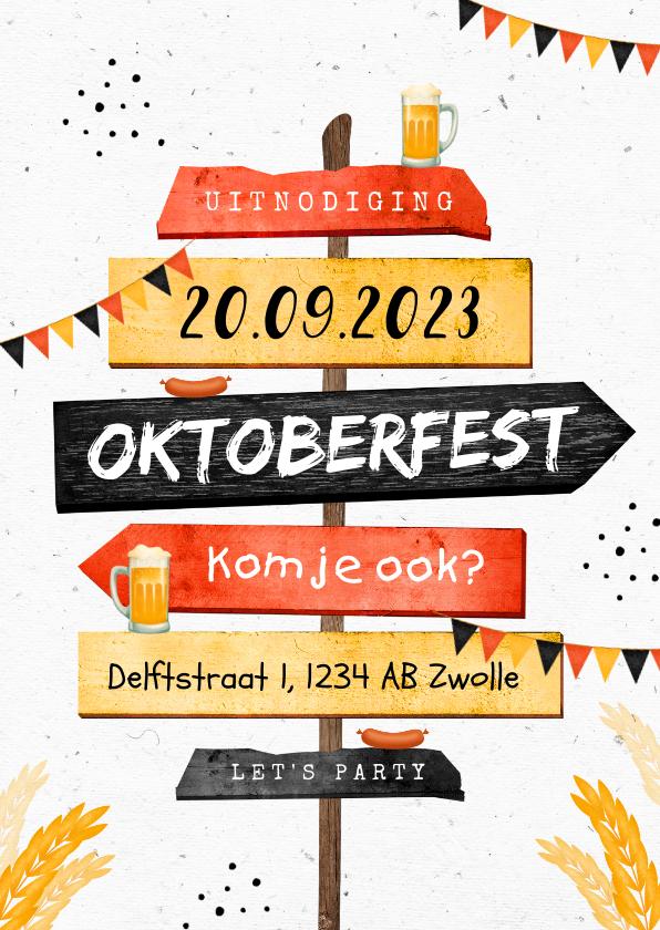 Uitnodigingen - Uitnodiging oktoberfest wegwijzers slingers bier worst