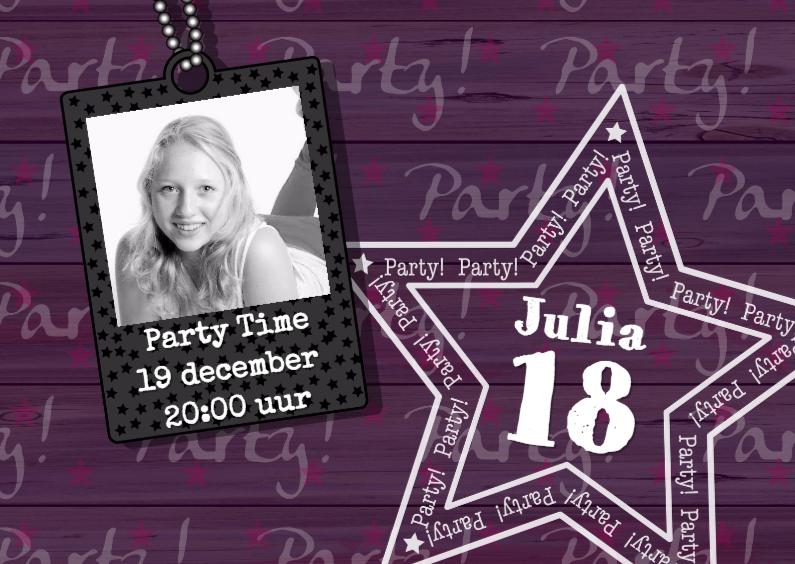Uitnodigingen - uitnodiging paars hout ster