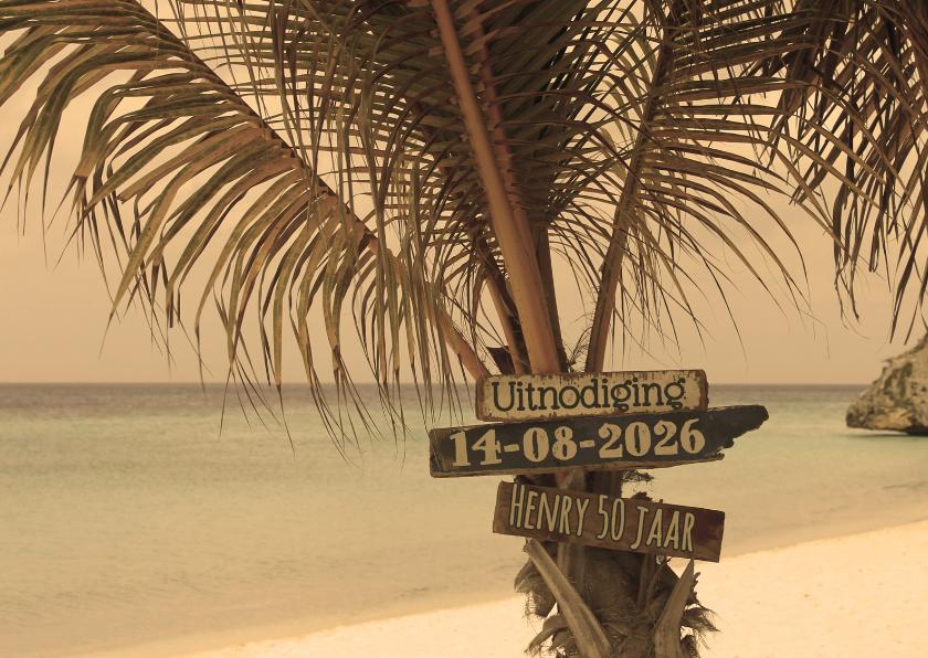 Uitnodigingen - Uitnodiging Palmboom op strand L