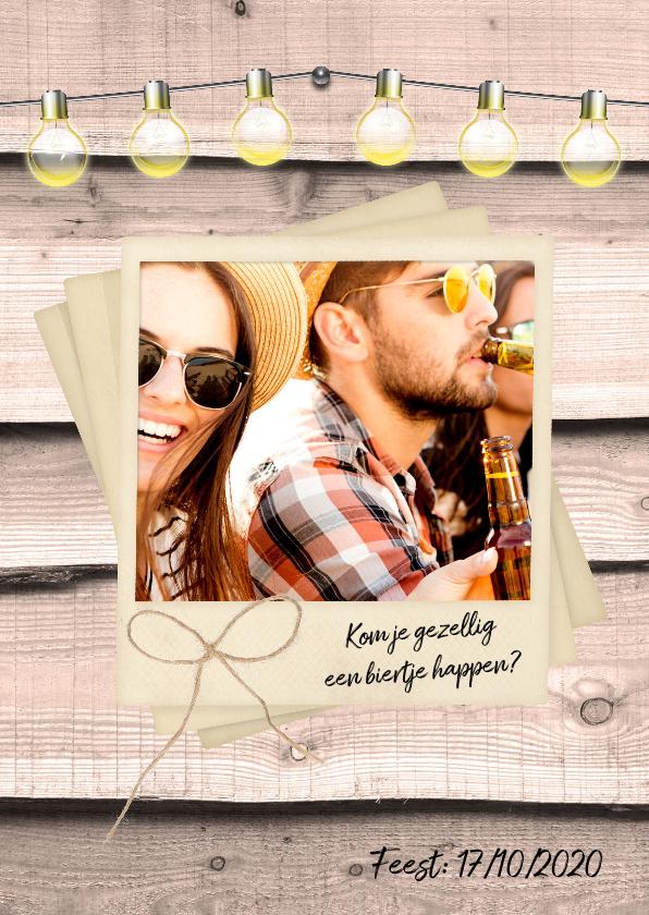 Uitnodigingen - Uitnodiging party hout en foto