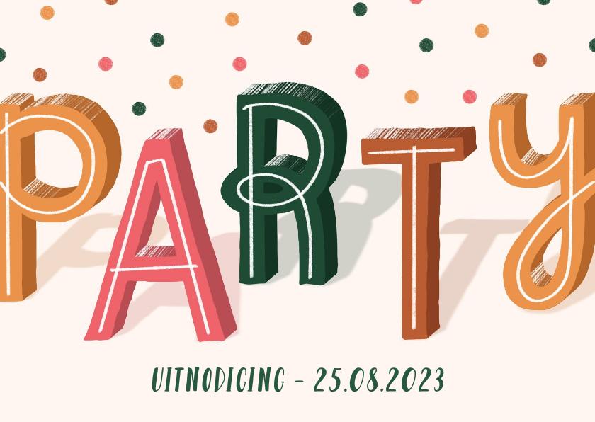 Uitnodigingen - Uitnodiging party met confetti