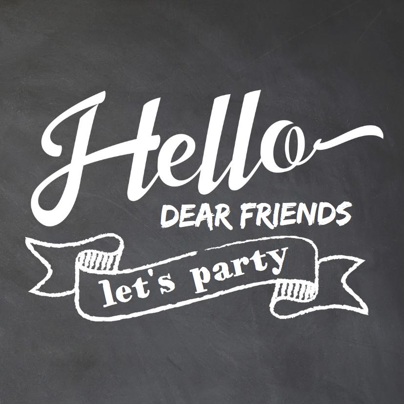 Uitnodigingen - Uitnodiging party sierletters krijtbord - LO