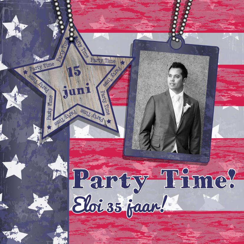 Uitnodigingen - Uitnodiging PARTY ster streep