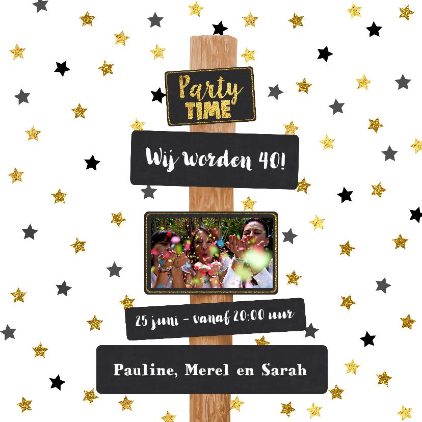 Uitnodigingen - Uitnodiging Party-Time tekst borden en sterren goud