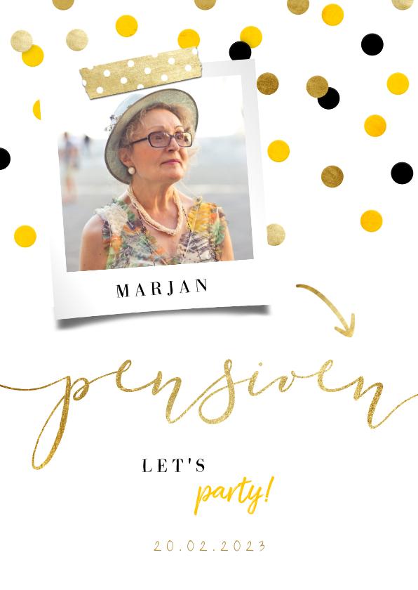 Uitnodigingen - Uitnodiging pensioen goud met feestelijke confetti