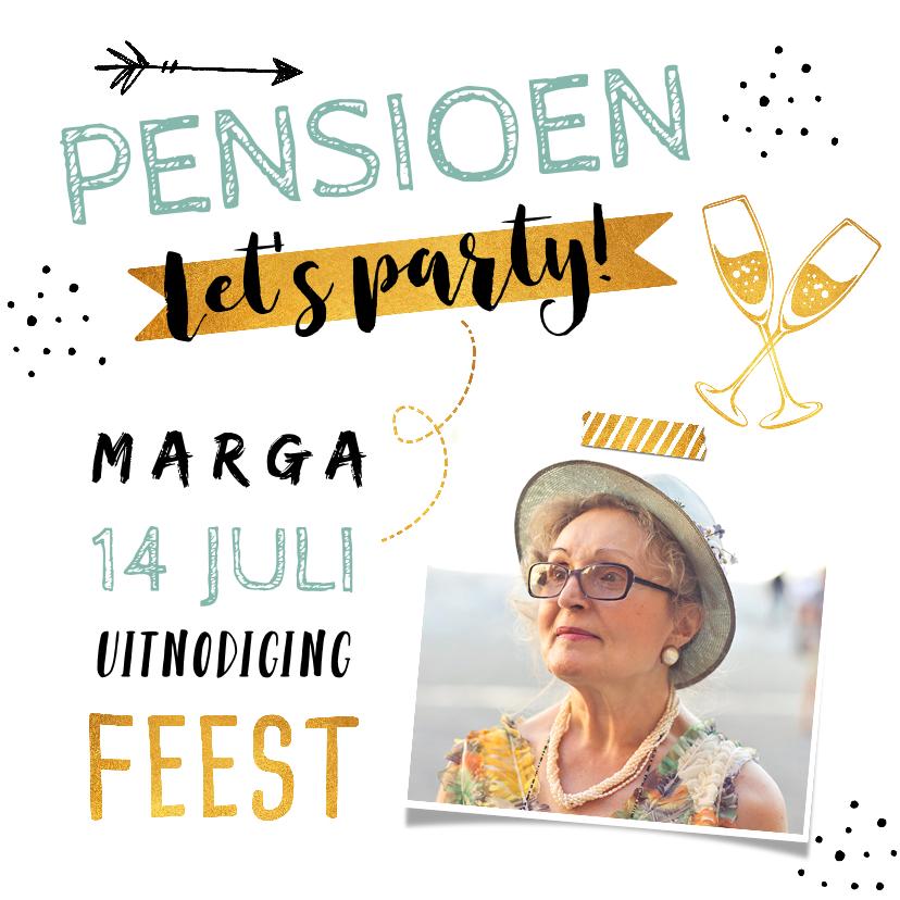 Uitnodigingen - Uitnodiging pensioen hip en trendy met foto