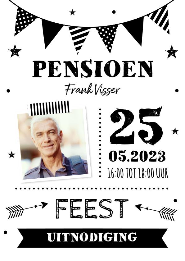 Uitnodigingen - Uitnodiging pensioen slinger foto zwart-wit