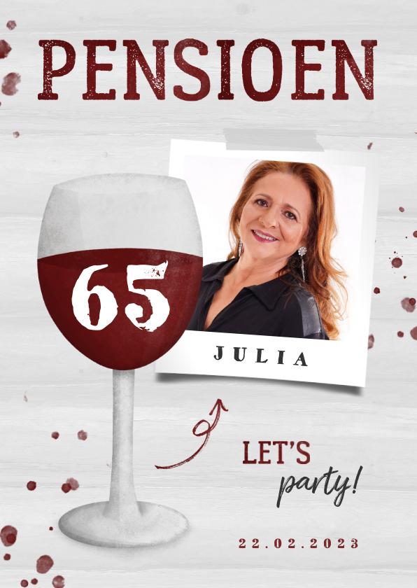 Uitnodigingen - Uitnodiging pensioen wijnglas met foto en leeftijd