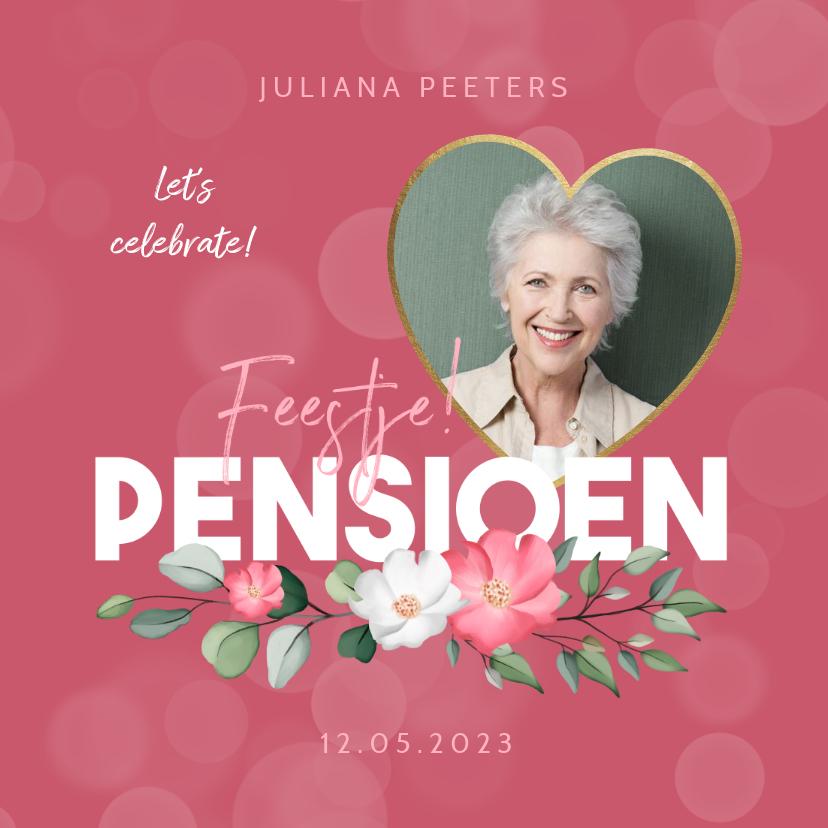 Uitnodigingen - Uitnodiging pensioenfeest roze bloemen foto hart