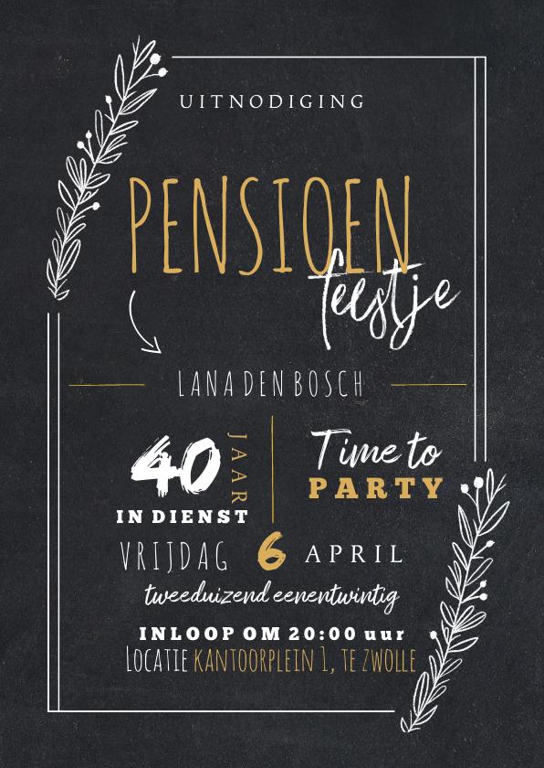 Uitnodigingen - Uitnodiging pensioenfeest vrouw met takjes in krijtbord look