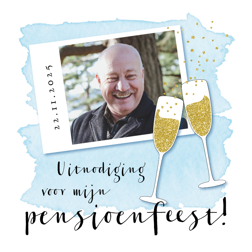 Uitnodigingen - Uitnodiging pensioenfeestje champagne glazen