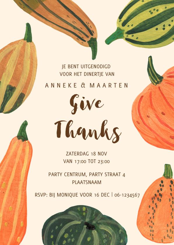Uitnodigingen - Uitnodiging pompoenen herfst feest Halloween