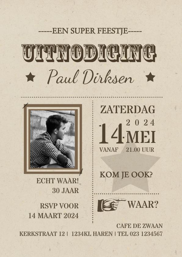 Uitnodigingen - Uitnodiging retro kaart av
