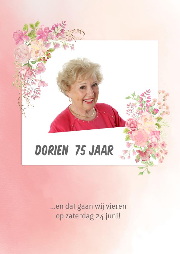 Uitnodigingen - Uitnodiging rozen vrouw verjaardag