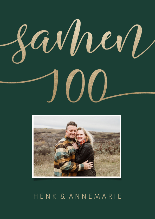 Uitnodigingen - Uitnodiging Samen 100 met goudlook en foto