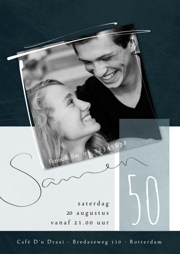Uitnodigingen - Uitnodiging samen 50, met foto en speelse typografie