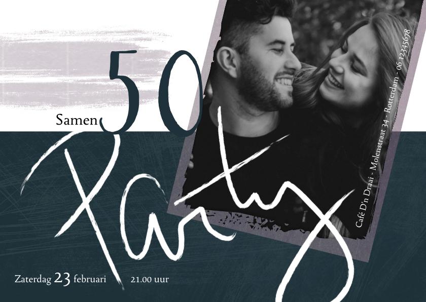 Uitnodigingen - Uitnodiging 'Samen 50', met handgeschreven tekst