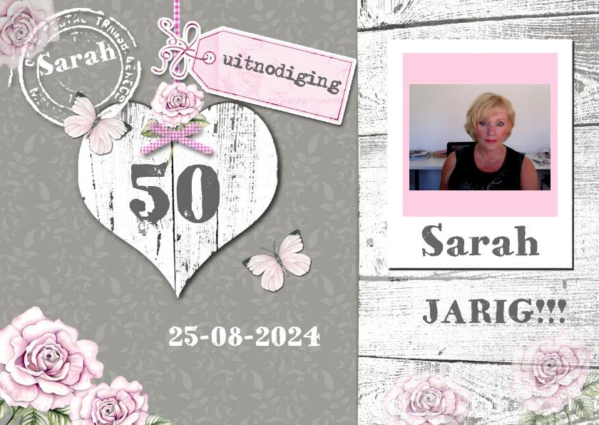 Uitnodigingen - uitnodiging Sarah vintage hart en foto
